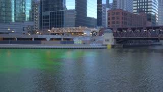 Chicago Green River St Patricks Day Skyscrapers Skyline City 4K 60fps