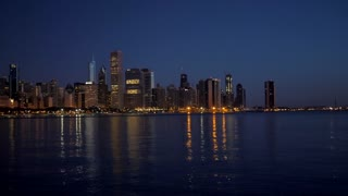 Chicago Skyline Night City 4K 60Fps