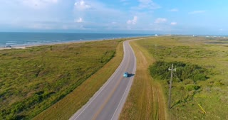 Classic Car Aerial Chase Ocean Texas Beach 1940 Plymouth Driving Road Drone 4K