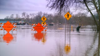Dangerous Flooding Road Closed Water Hurricane Climate Change Helpless Disaster Destruction Flood Relief 4K 60fps