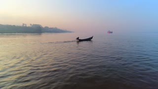 Drone Asian Fishing Boats River Canoe Aerial Sunrise Cinematic Drone