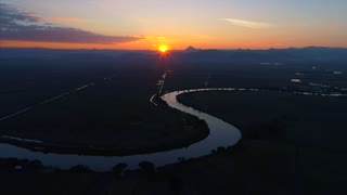 Drone Asian River Sunset Landscape Jungle Cinematic Aerial Flyover Drone
