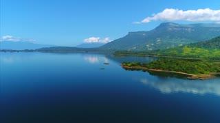 Drone Cinematic Asian Jungle Lake Laos Nam Ngum Reservoir Flyover Drone