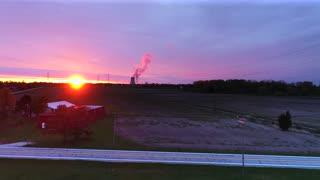 Drone Farmland Sunrise Power Lines Nuclear Power Plant Aerial