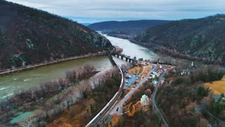 Drone Harpers Ferry Train River West Virginia Potomac River History Cinematic Aerial