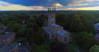 Aerial Lutterworth Church England City Establishing Shot Cinematic John Wycliffe Drone