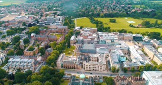 Drone Oxford England City Establishing Shot Cinematic Aerial