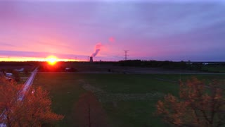 Drone Power Lines Jib Shot Flyover Nuclear Power Plant Sunrise Aerial