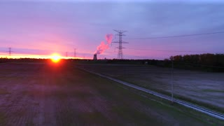 Drone Sunrise Power Lines Nuclear Power Plant Aerial