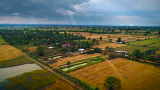 Drone Dry Cambodian Landscape Asian Sunset Landscape Jungle Cinematic Aerial Flyover