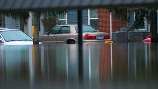 Flooded Cars Disaster Destruction Hurricane Flood Relief Worker