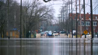 Flooded Road Police Helpless Cars Disaster Destruction Hurricane Flood Relief