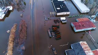 Flood Waters Devastation Homes Destroyed Under Water Climate Change Cinematic Drone