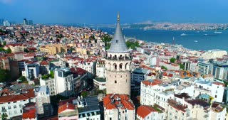 Galata Tower Pull Back Istanbul Skyline Rainbow Aerial Conclusion Shot Tv Commercial Diversity Culture Tourism Destination Holiday Travel Trump Ban Politics Turkey Middle East Asia Byzantium Bosphorus Strait Tour Boats