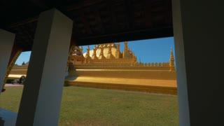 Gimbal Temple Pha That Luang Stupa Vientiane Buddhist Laos Sun Rays Asia Asian Countryside Cinematic 4K