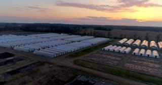 Greenhouse Farm Aerial Drone Shot
