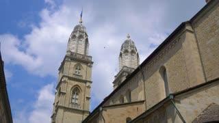 Grossmunster Church Zurich Switzerland Reformation Gimbal Shot