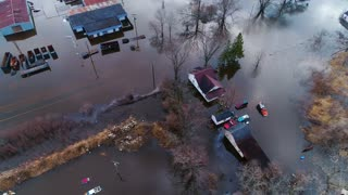 Homes Destroyed Flooding Devastation Under Water Global Warming Earth Cinematic Drone