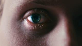 Intense Mans Eye Blinks And Looks Straight Into Camera Tight Eyeball Shot 4K