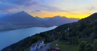 Interlaken Switzerland Town Aerial Drone Shot Mountians Sunset Push In Swiss Countryside Landscape Alps Rugged