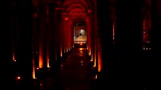Istanbul Basilica Cistern Gimbal Move Turkey Water Storage History Roman Ruins Sunset Establishing Shot