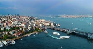 Istanbul Skyline Rainbow Aerial Conclusion Shot Tv Commercial Diversity Culture Tourism Destination Galata Tower Holiday Travel Trump Ban Politics Turkey Middle East Asia Byzantium Bosphorus Strait Tour Boats