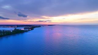Lake Drone Jib Sunrise Great Lakes Aerial