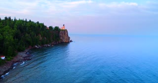 Lighthouse On Cliff Lake Superior North Shipping Industry Boat History  Drone