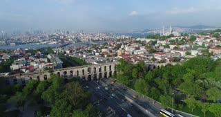 Log Color Valens Aqueduct Aerial Istanbul Turkey Pull Back Skyline Rainbow Tv Commercial Diversity Culture Tourism Destination Holiday Travel Middle East Asia Byzantium Bosphorus Strait
