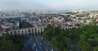 LOG Color Valens Aqueduct Dynamic Aerial Istanbul Turkey Roman Empire Eastern Shore Silk Road Shot Skyline Diversity Culture Holiday Travel Middle East Asia Byzantium Bosphorus Strait Drone Helicopter