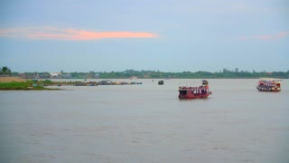 Mekong River Ships Driving Cambodia Phnom Penh Countryside Town Tourism Asia Culture 4K