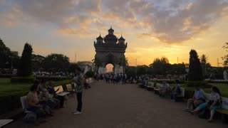 Ornate Monument Gimbal Vientiane Laos Tourist Attraction Temple Buddhist Buddhism The Great Buddah Asian Tropical Tropics Sunset Cinematic Asia