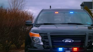 Police Car Lights Officer Responds To Crime Scene Speeding Ticket Law Enforcement 4K