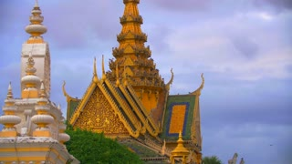 Royal Pallace Pigeons Slow Motion In Phnom Penh Cambodia Countryside Town Tourism Asia Culture 4K
