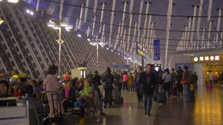 Shanghai Airport China Chinese People Culture Slider Establishing Shot Walkway Urban Architecture Pudong International 4K 60 FPS