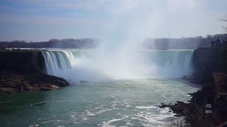 Slow Mo Niagara Falls Water Surging Over Cliff River Splashing Cloud