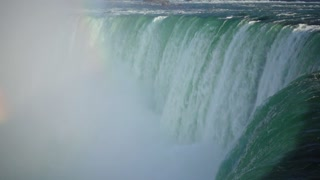 Slow Mo Niagara Falls Water Surging Over Cliff River Splashing Rainbows
