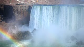 Slow Mo Niagara Falls Water Surging Over Cliff River Splashing