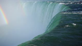 Slow Mo Niagara Falls Water Surging Over Cliff River