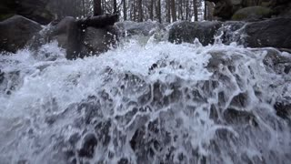 Slow Mo Waterfall Rapids Splashing Over Rocks Wide Pan Down