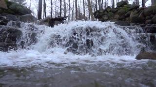 Slow Mo Waterfall Rapids Splashing Over Rocks Wide
