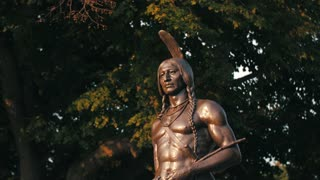 Squanto Indian Statue Mayflower Pilgrims Forefathers America Hero History 4K