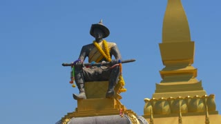 Statue Of King Sethathirath Pha That Luang Temple Vientiane
