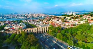 Valens Aqueduct Aerial Istanbul Turkey Pull Back Skyline Rainbow Tv Commercial Diversity Culture Tourism Destination Holiday Travel Middle East Asia Byzantium Bosphorus Strait