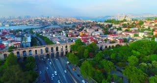 Valens Aqueduct Dynamic Aerial Istanbul Turkey Roman Empire Eastern Shore Silk Road Shot Skyline Diversity Culture Holiday Travel Middle East Asia Byzantium Bosphorus Strait Drone Helicopter