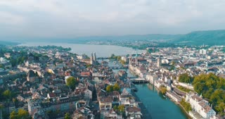 Wide Panoramic Zurich Switzerland Sweeping Over City Reformation History Aerial Cinematic Drone