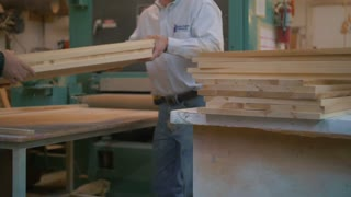 Woodworking Stacking Maple Pannels Wood Changing Widebelt Sander Belt Sandpaper Belt Safety Equipment Cabinetry Cabinet Industry Minimum Wage Tree Trees Conservation Sawdust Shop Dangerous Woodworker Business Machinery Machine 4K 60 Fps