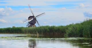 Windmills Kinderdijk Netherlands Turning
