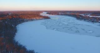 Winter River Aerial Ice Flyover