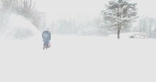 Winter Snowblower Aerial Flyby